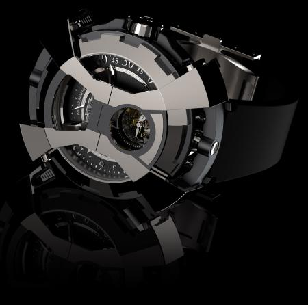 """The DeWitt X-Watch - presented here tourbillon's side - with the articulated """"bonnet"""" in the shape of an """"X"""" in its closed position."""