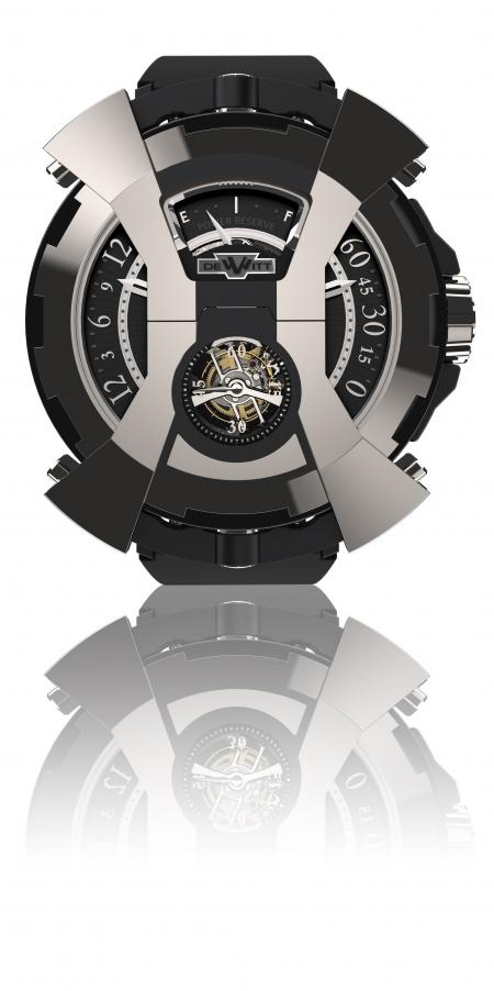 """The DeWitt X-Watch face wiew - presented here tourbillon's side - with the articulated """"bonnet"""" in the shape of an """"X"""" in its closed position."""