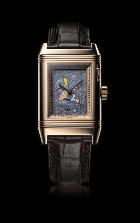 Unique : the Reverso personnalized by Zep, creator of Titeuf, famous cartoon character, who is dealing here with the workings of the watch.