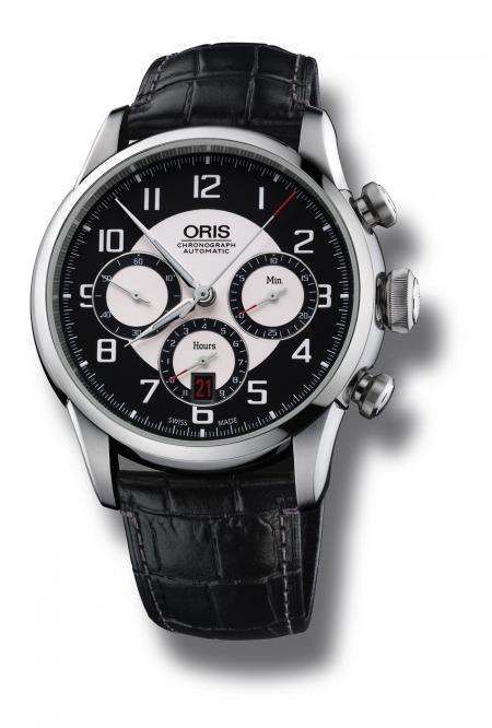 Oris RAID 2011 Chronograph Edition's dial is inspired by the historic Austin Healey 100M, 1953 dashboard.