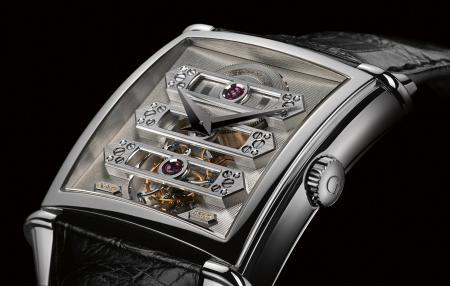 The Vintage 1945 Tourbillon with three gold Bridges in a limited edition of 50 pieces in white gold.