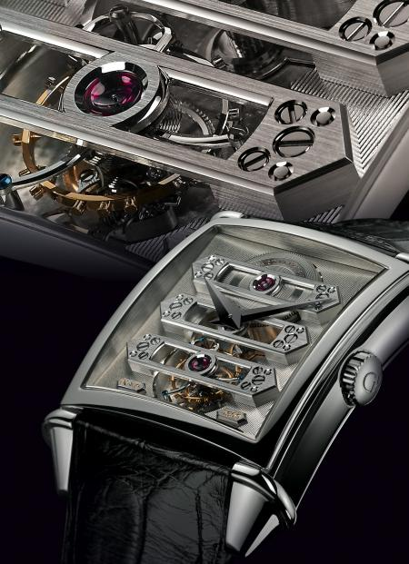 Focus on the beautiful tourbillon with three gold briges.