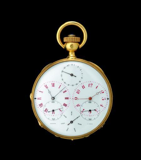 Among the fifty pieces exhibits A La Vieille Russie, this Double time zone pocket watch of 1870.© 2011 Musée d'Horlogerie du Locle Château des Monts