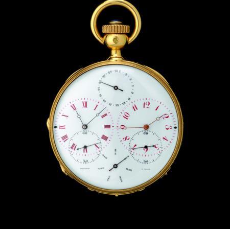 Double time zone pocket watch of 1870.© 2011 Musée d'Horlogerie du Locle Château des Monts