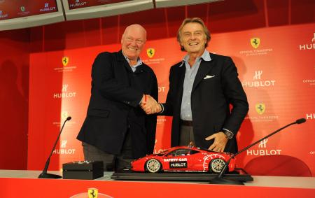 A handshake symbolizing the agreement between Hublot, represented by Jean-Claude Biver CEO's, and Ferrari, represented by Mr. Luca Cordero di Montezemolo, President of Ferrari S.p.A © Raphael Faux