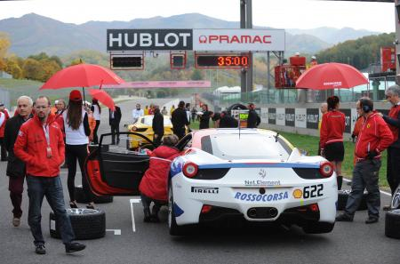 Hublot 'Official Timekeeper' on the circuit of Mugello, during the Ferrari Challenge. ©Raphael Faux