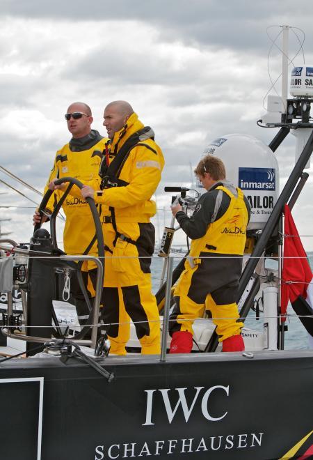 Zinedine Zidane, IWC ambassador, aboard the monohull of the Abu Dhabi Ocean Racing team.®JRENEDO22722