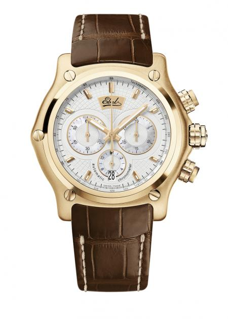 Ebel 1911 BTR Chronograph anniversary edition : automatic movement, case in pink gold, sapphire crystal case-back, limited edition of 100 pieces - 21 200 euros.