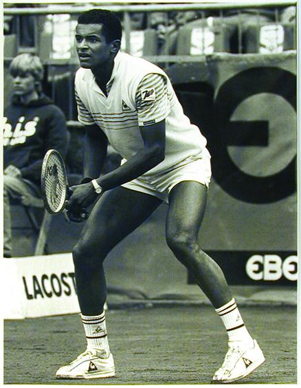 Yannick Noah at a competition in Hamburg in 1984, sponsored by Ebel.