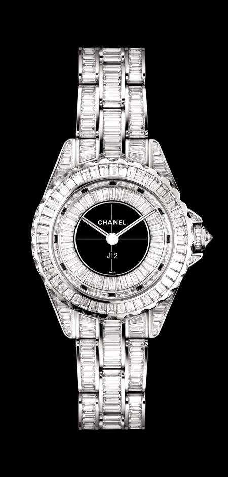 Chanel - J12 29mm watch in white gold set with baguette-cut diamonds.