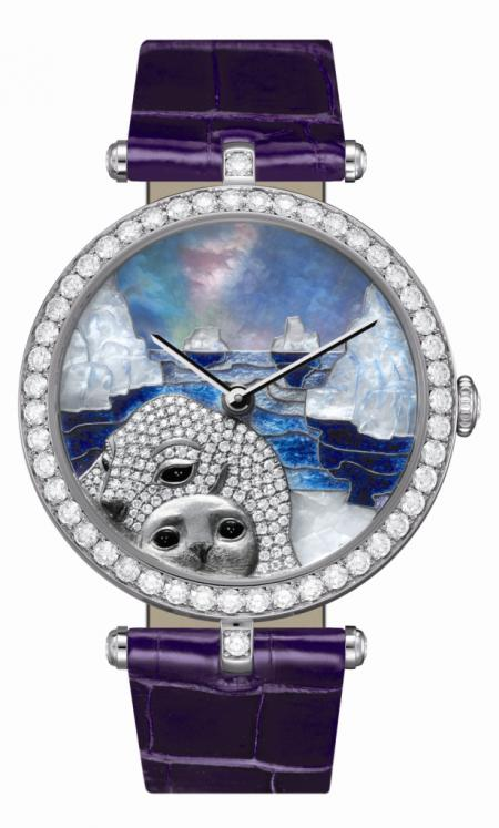 The Van Cleef & Arpels Lady Arpels Polar Landscape seal decor watch wins the Jewellery and artistic crafts watch prize at the Grand Prix d'Horlogerie de Genève 2011.