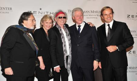 Lawrence Schiller, Tina Brown, Keith Richards honoured with the Mailer Prize for Distinguished Biography, presented by former president Bill Clinton, and Zenith President and CEO Jean-Frédéric Dufour during the 2011 Norman Mailer Center gala.