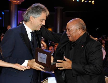 Andrea Bocelli and Quincy Jones.