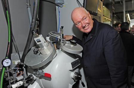 Jean-Claude Biver, CEO of Hublot, in the Metallurgy department of the Hublot Manufacture.