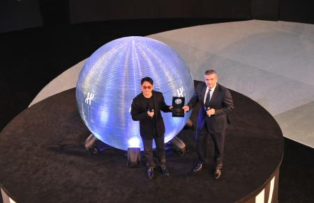 Jet Li with Ricardo Guadaloupe - Managing Director of Hublot - during the launch ceremony fof the Hublot Jet Li limited edition watch.