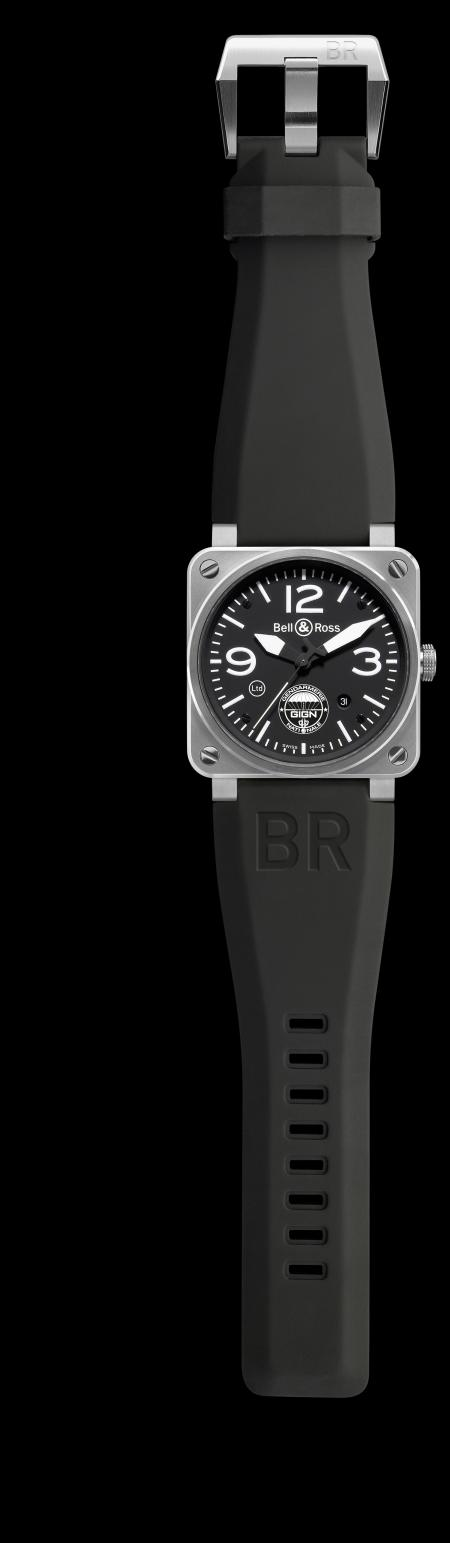 The BR 03-92 GIGN : Case in satin-brushed steel (42 mm diameter) water resistance of 100 meters, and automatic movement.