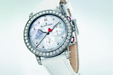 Blancpain Saint-Valentin Chronograph 2012 : a limited series of 14 watches in white gold set with diamonds.