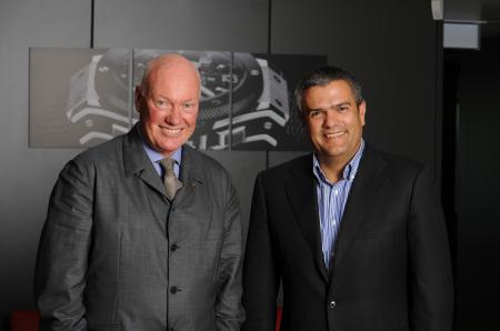 Mr. Jean-Claude Biver, CEO of Hublot, with Mr. Ricardo Guadalupe, the new Chief Executive Officer of the company. ©Raphael Faux