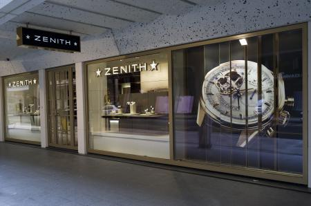 The front of the Zenith boutique : 35 rue du Rhône in Geneva.