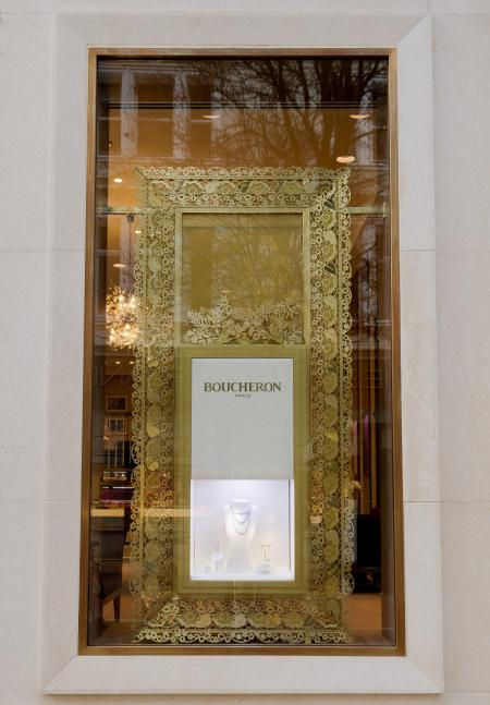 The new exterior window of the Boucheron New Bond Street at London boutique.