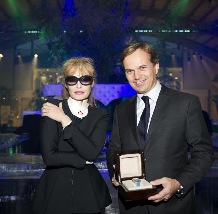 Jean-Frédéric Dufour - Zenith President and CEO - with Arielle Dombasle during the Benefit Gala for the Smiling Children Association.