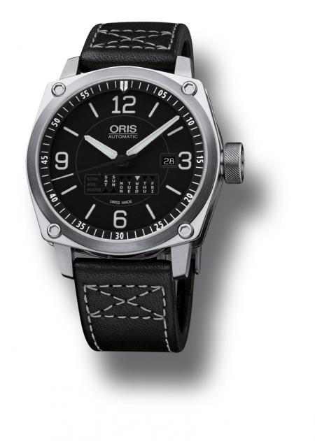 The Oris BC4 Retrograde Day on black Gaucho leather strap.