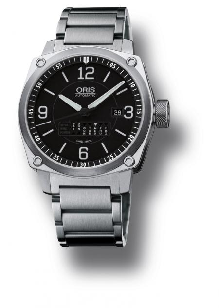 The Oris BC4 Retrograde Day on stainless steel strap.