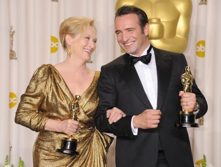 Jean Dujardin, Best Actor, and Meryl Streep, Best Actress for her film The Iron Lady © Jeff Kravitz / Wireimage