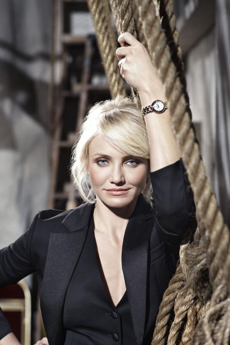 Cameron Diaz, the new TAG Heuer's ambassador, with a Link Lady. Mandatory Photo Credits for Cameron Diaz images: Johann Sauty