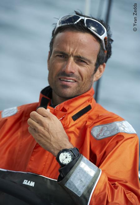 Franck Cammas on his arrival in Auckland, with on the wrist the Diverscope of JeanRichard. ©Yvan Zedda