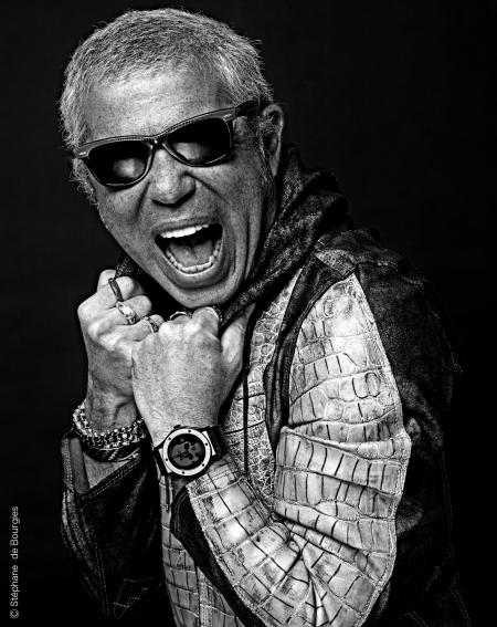 Laurent Picciotto with the rock'n roll Hublot Skull Bang. © Stéphane Bourgies