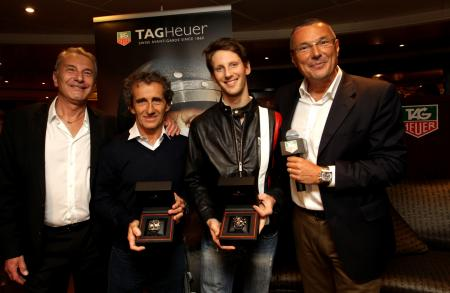 Michel Ferry (the Grand Prix Race Director and Commissaire Général de l'ACM), Alain Prost, Romain Grosjean (new TAG Heuer ambassador) and Jean-Christophe Babin (President & CEO of TAG Heuer).