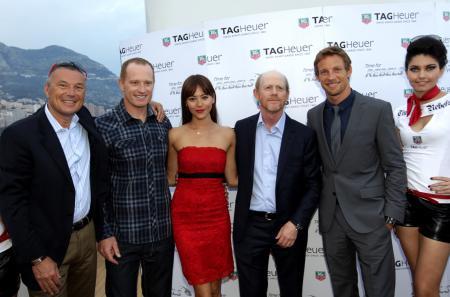 Jean-Christophe Babin, Jimmy Spithill, Jessica Michibata, Ron Howard and Jenson Button.