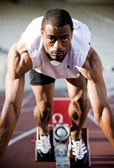 Tyson Gay : an Omega ambassador at the London Olympic Games.