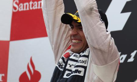Pastor Maldonado on top of the Spanish Grand Prix podium.