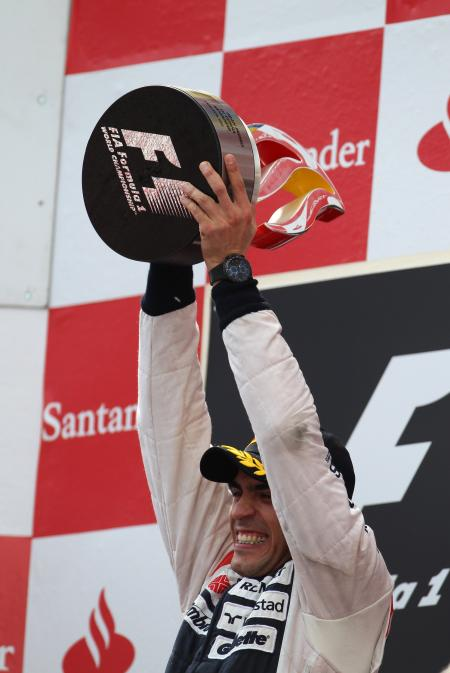 Pastor Maldonado on top of the Spanish Grand Prix with its Oris TT3 Chronograph Black.