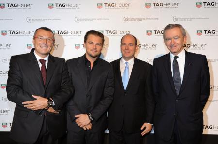 Jean-Christophe Babin, Leonardo DiCaprio, SAS le Prince Albert II de Monaco and Bernard Arnault, Président du groupe LVMH.