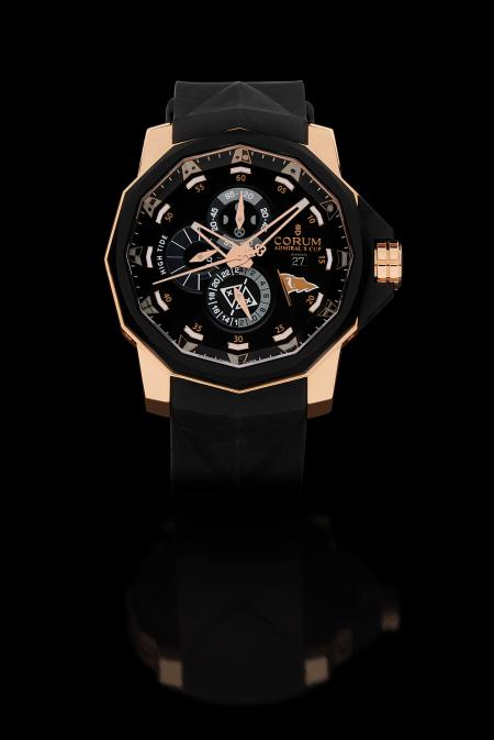 The Corum limited Edition Admiral's Cup Seafender 48 Tides Iate Clube de Santos in pink gold.