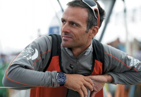 Franck Cammas with on the wrist the Aquascope of JeanRichard. ©Yvan Zedda
