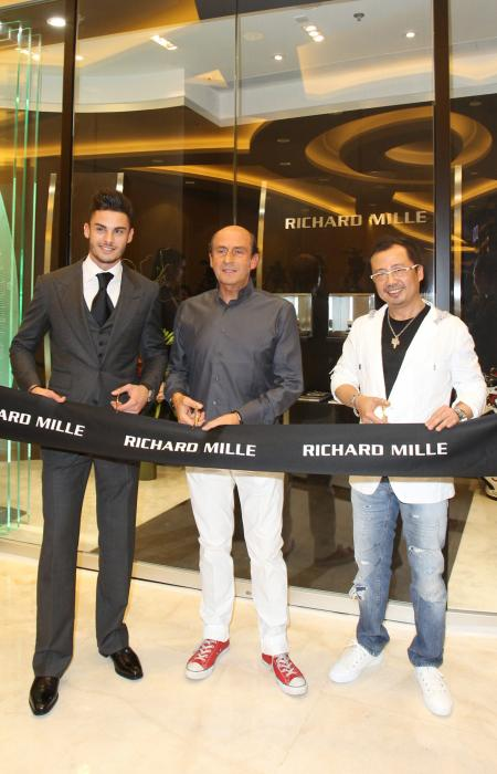 Baptiste Giabiconi, Richard Mille and Dave Tan (CEO of Richard Mille Asia) during the ribbon cutting ceremony of the new boutique of Hong Kong.