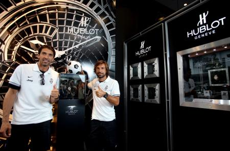 Gianluigi Buffon and Andrea Pirlo of the Juventus of Turin during the annoncement of the partnership between Hublot and the famous italian team.