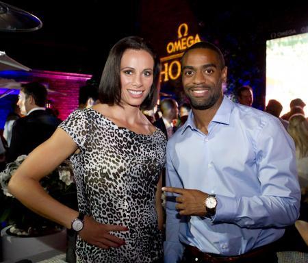 Jenn Suhr and Tyson Gay, Omega ambassadors.