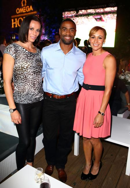 Jenn Suhr, Tyson Gay and Jessica Ennis, Omega ambassadors.