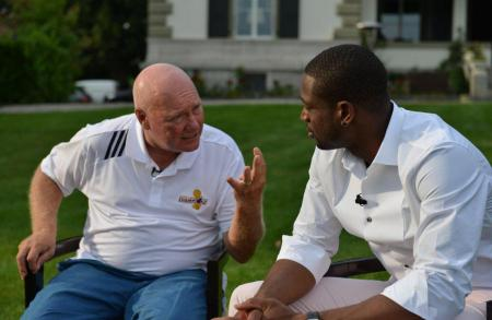 Jean-Claude Biver, Chairman of Hublot, with Dwyane Wade during his visit to the manufacture.