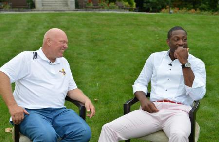 Jean-Claude Biver, Chairman of Hublot, with Dwyane Wade during his visit at the manufacture.