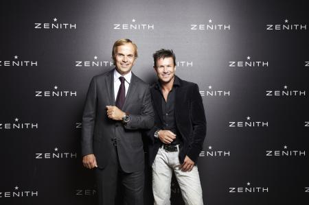 Jean-Frédéric Dufour, Zenith President and CEO, with Félix Baumgartner, Zenith ambassador.