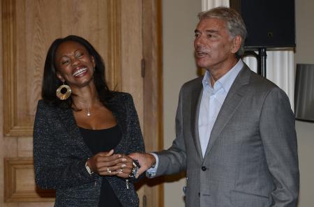 Laura Flessel and Mr Jacot CEO of Parmigiani Fleurier ©DPPI