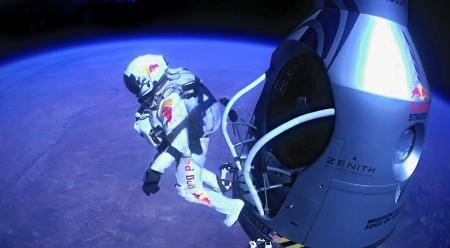 Felix Baumgartner jumping out of his space capsule at 39,045 meters.