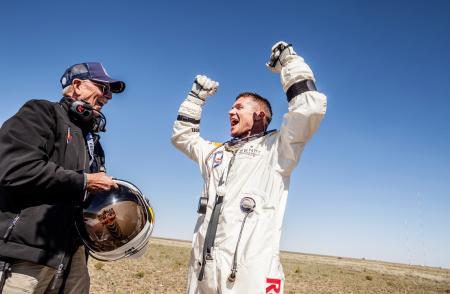 Felix Baumgartner's enjoyment upon his arrival on dry land.