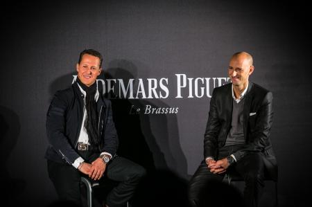 Michael Schumacher and Tim Sayler, Audemars Piguet's Chief Marketing Officer, presenting the Royal Oak Offshore Chronograph Michael Schumacher.